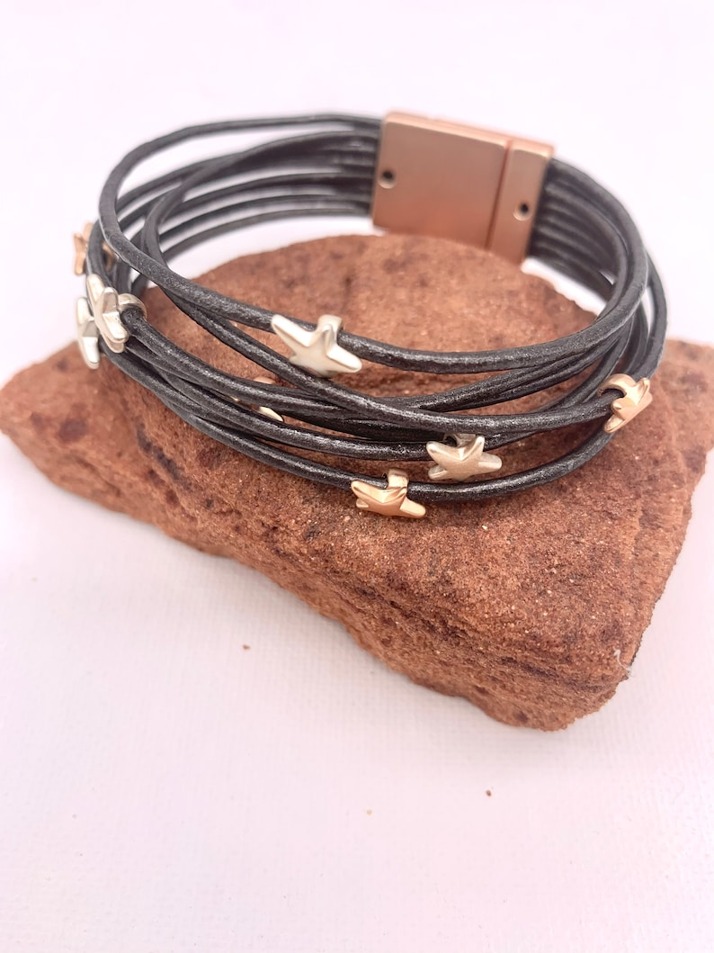 Dark Silver Leather Beaded Cuff,Braceler for woman,Gifts for mothers day,Boho Style. Women/'s Wrap Stars Cuff