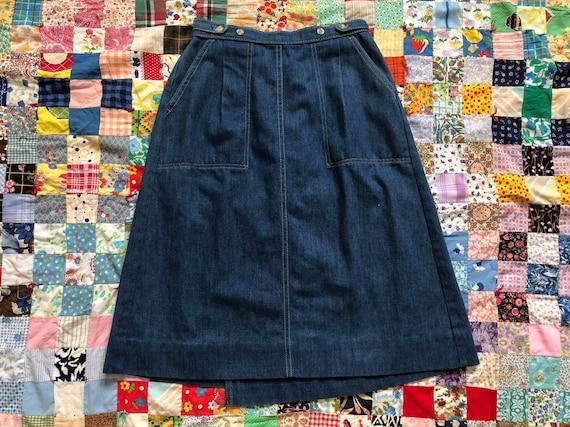 Vintage 70s Levis Denim Skirt Blue Jean A-Line Hig