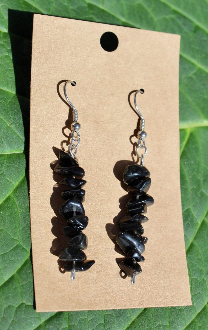 Dangle Earrings Genuine Obsidian Stone Earrings