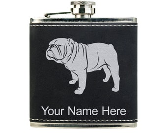 British Bulldog bull dog Hip Flask Gift Boxed FREE ENGRAVING 047