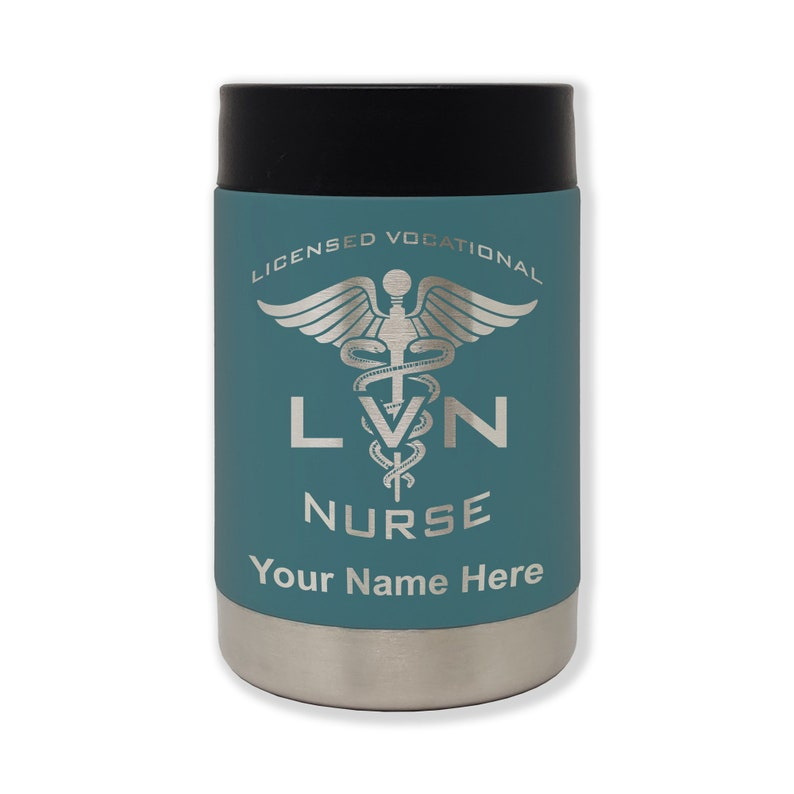 Stainless Steel Double Wall Can Holder Personalized Engraving Included LVN Licensed Vocational Nurse