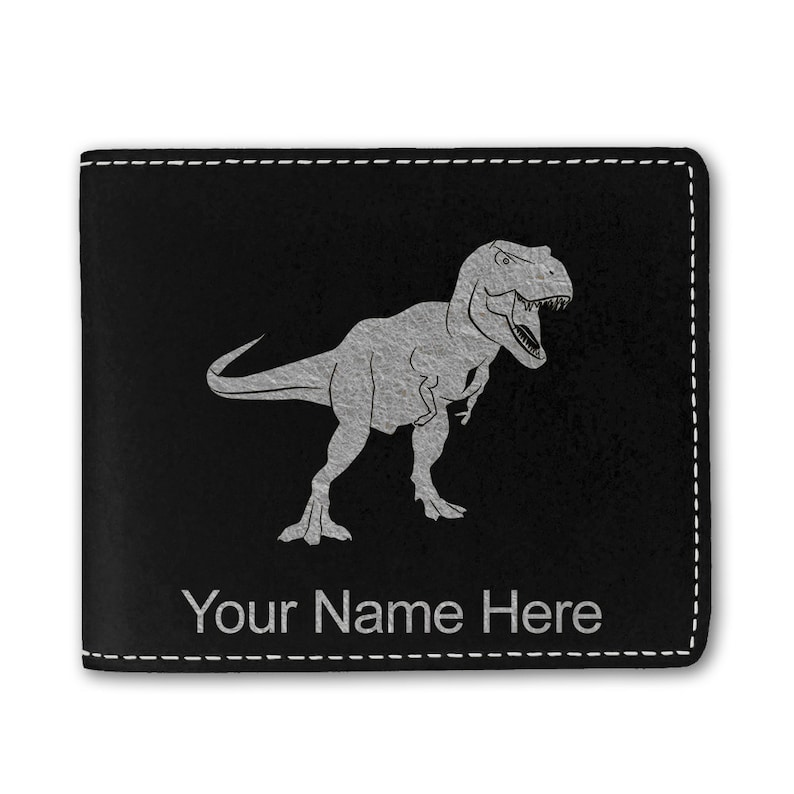 Faux Leather Bi-Fold Wallet,\u00a0Tyrannosaurus Rex Dinosaur Personalized Engraving Included