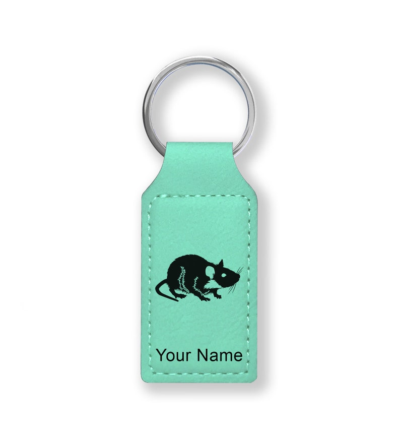 Personalized Engraving Included Faux Leather Rectangle Keychain,\u00a0Rat