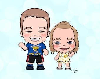Custom couple portrait, digital portrait, cute portrait, wedding portrait, cartoon portrait, custom gift