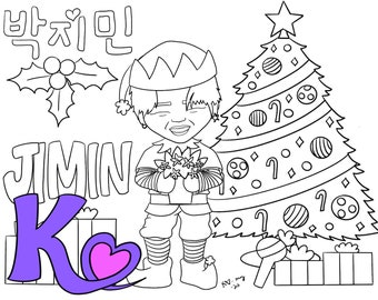 BTS Bangtan Christmas digital coloring pages