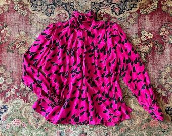 Vintage hot pink fuchsia high neck bow polka dot blouse