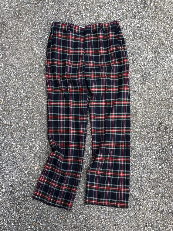 Vintage '70s '80s plaid tartan wool trousers | na… - image 8