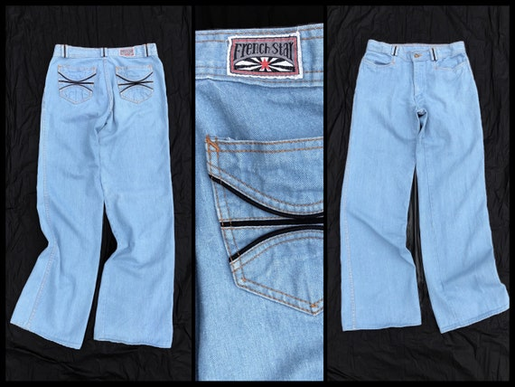 Vintage 1970s French Star bell bottom jeans   '70s