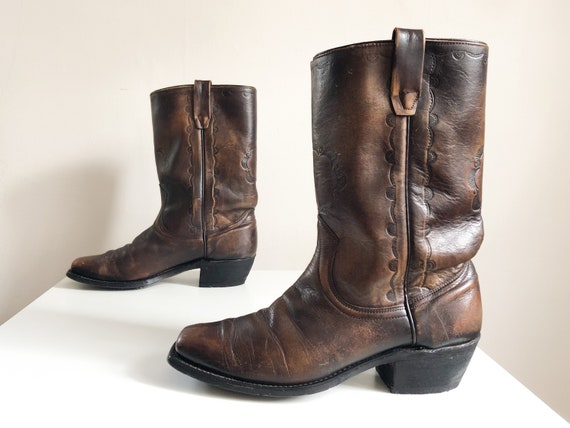 Vintage 1970s Wrangler tooled bronze boots   '70s
