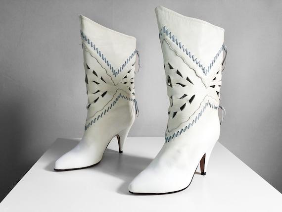 Vintage 1980s Di Fiori white high heel boots | han
