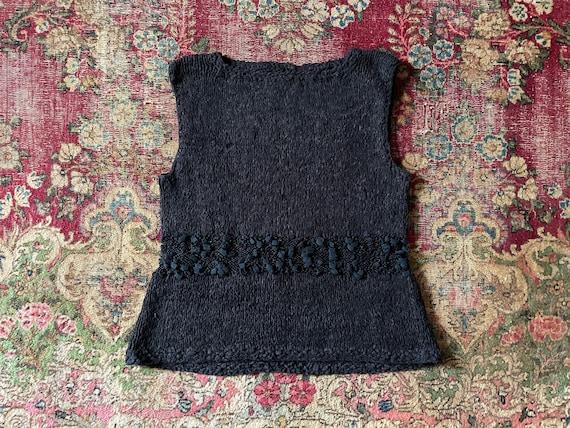 Vintage '80s hand knit sweater vest | black super… - image 1