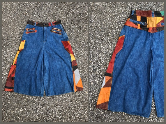 Vintage 1970's denim culottes with leather patchwo