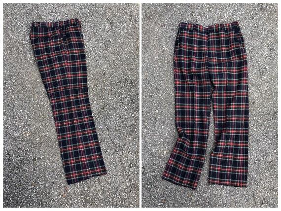 Vintage '70s '80s plaid tartan wool trousers | na… - image 1