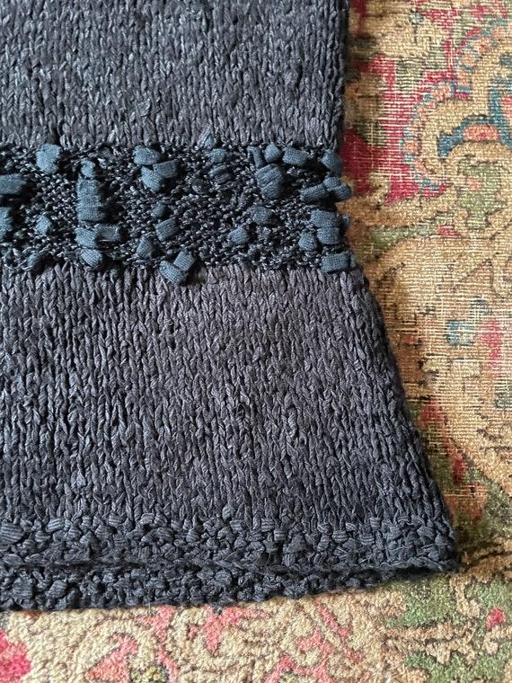 Vintage '80s hand knit sweater vest | black super… - image 5