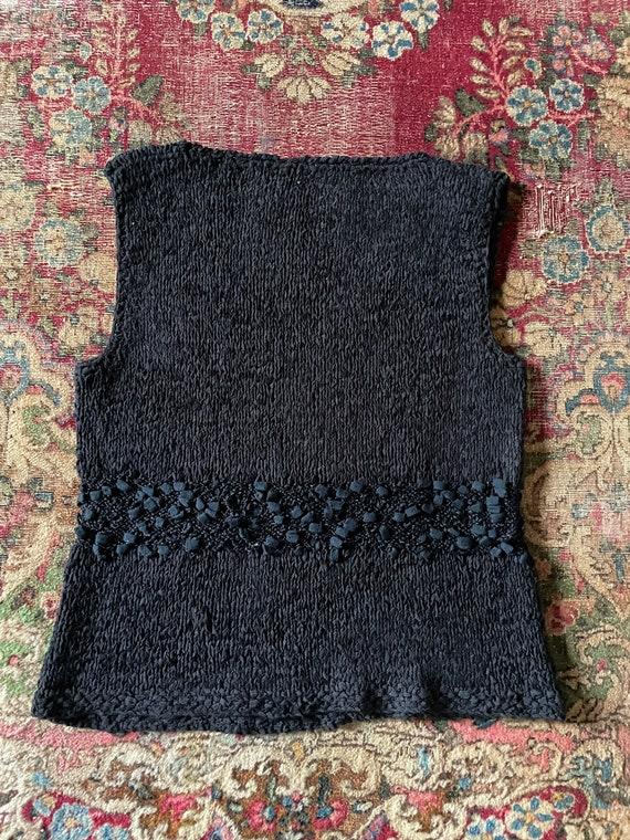 Vintage '80s hand knit sweater vest | black super… - image 6