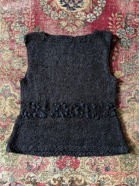Vintage '80s hand knit sweater vest | black super… - image 2