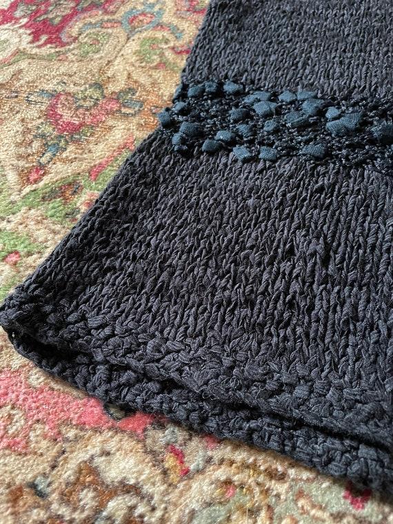 Vintage '80s hand knit sweater vest | black super… - image 3