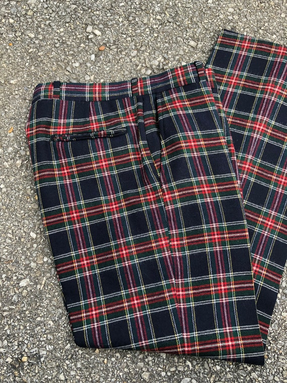 Vintage '70s '80s plaid tartan wool trousers | na… - image 5
