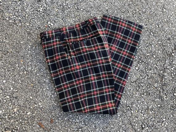 Vintage '70s '80s plaid tartan wool trousers | na… - image 6