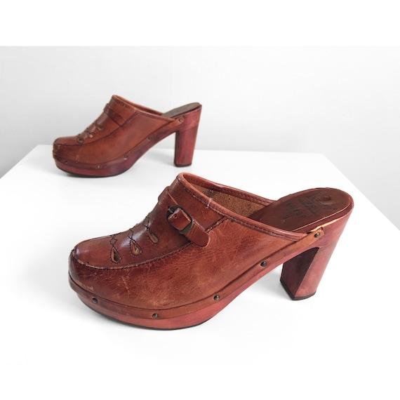 Vintage 1970s whiskey leather studded platform clo
