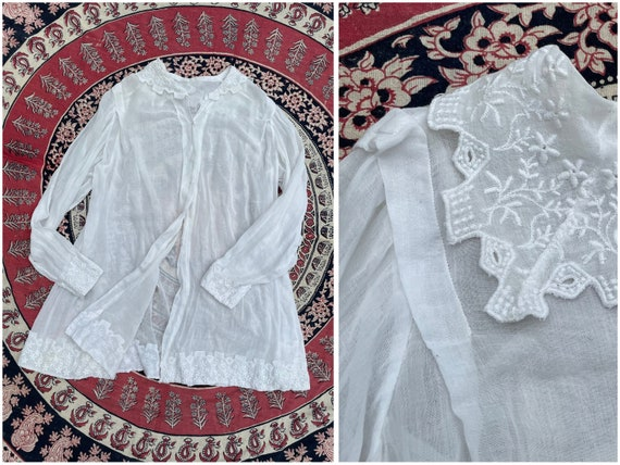 Antique Edwardian blouse, white batiste, 1910's t… - image 1
