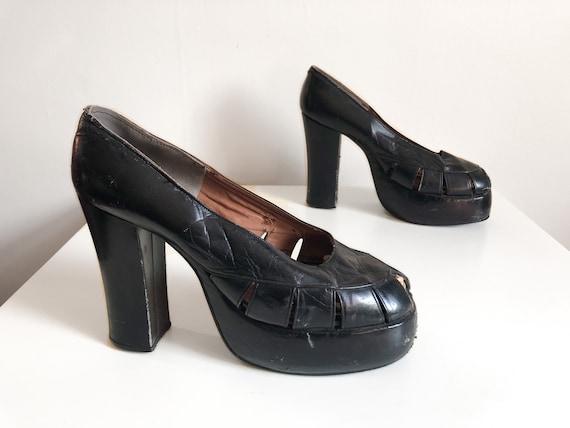 6.5 CLEARANCE 90/'s Black Leather Chunky Heel Loafer  Vintage Block Heel  EU 37