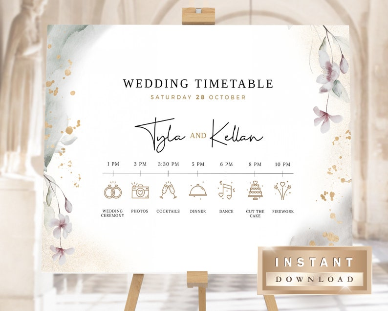 Wedding Timeline Sign Template Order of Events Sign LANA Wedding Timeline Poster Printable Wedding Day Schedule Editable Wedding Sign