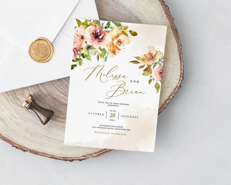 White Roses Summer Wedding Invitation Card White Roses Wedding Invitation Template Instant Download Floral Wedding Invite RSVP Card SOUL