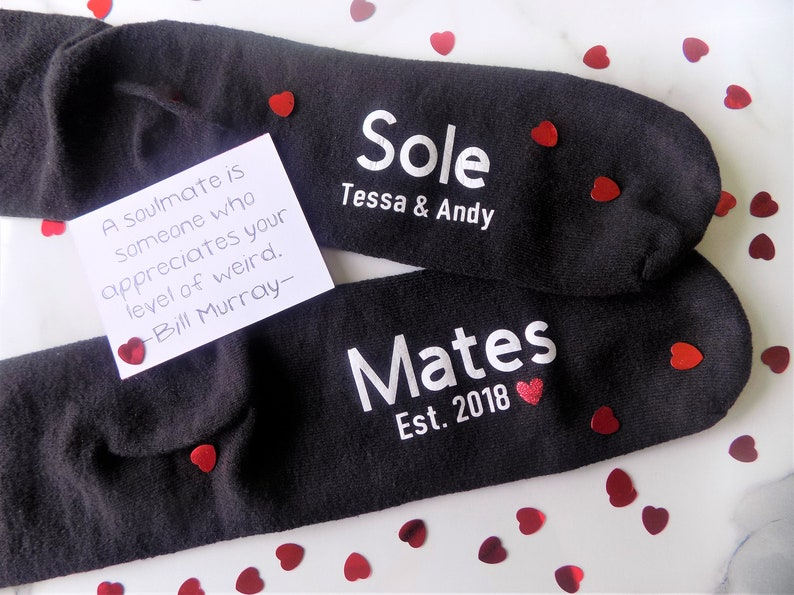 Planning to go somewhere cold on your wedding anniversary, customized socks are the best choice for any couple. You can personalize these socks with any name and date. Going to bed with a smile on your face when seeing your lover's feet are covered with these cute socks.