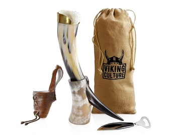 Choose Your Color Lanyard Laced Leather Drinking Horn Frog Holster Holder Trinkhorn