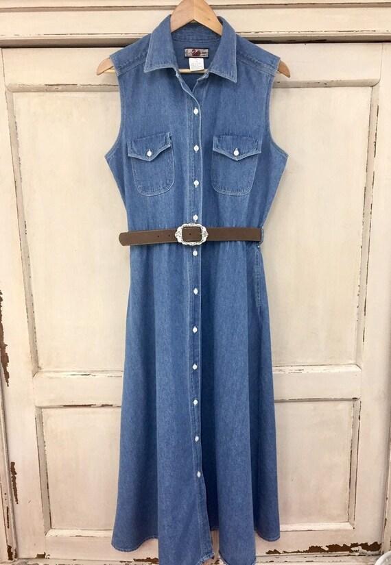 Vintage Denim Maxi Dress, Vintage Button Down Deni