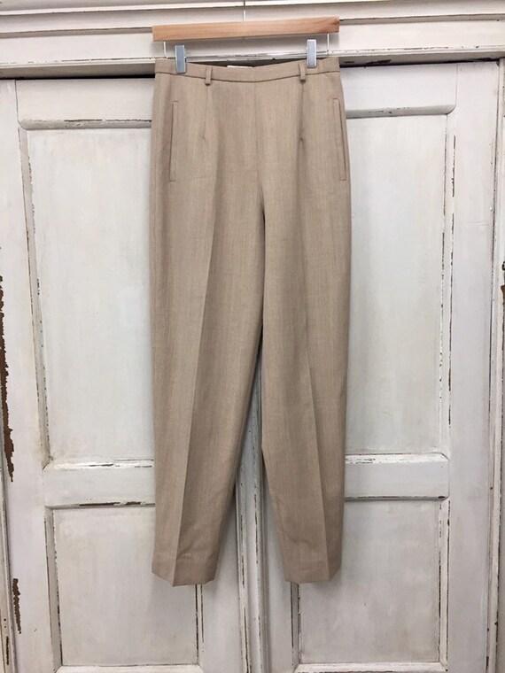 Vintage Wool Pleated Pants, High Waisted Pants Siz