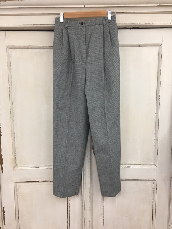 Vintage Pleated Wool Pants, High Waisted Wool Plea