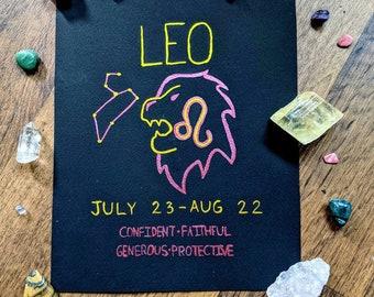 Leo Watercolor - Zodiac Art - Horoscope Art
