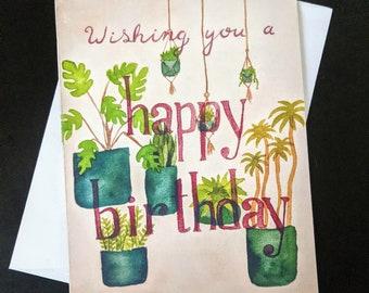 Houseplant Birthday Card