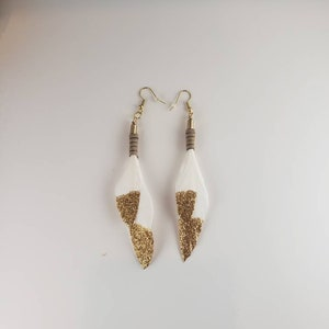 Hot Pink and Brown Drop Down Feather Earrings