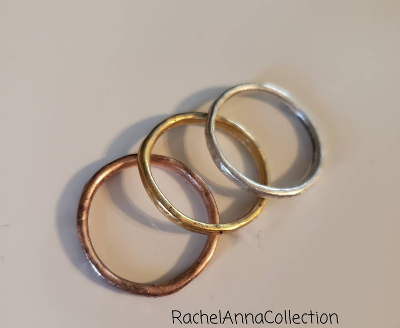 Gold and Copper Plated Simple Minimalist Set of 3 Ring set Hand Hammered Stacking Rings Sterling Silver Plated