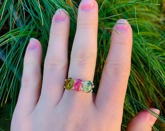 Natural deep green tourmaline Ring ~ Green Tourmaline Minimal ring Green Tourmaline Ring
