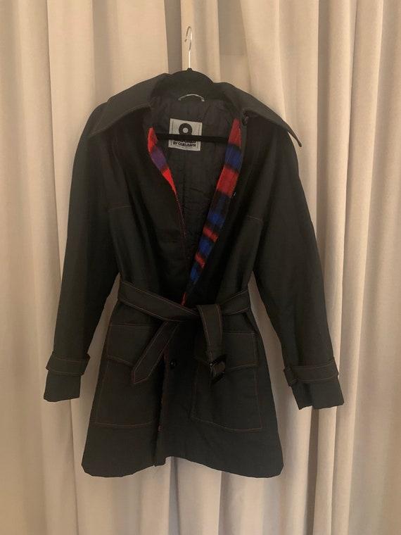 Black tartan trench coat vintage Quelrayn