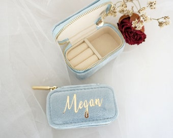 100% Italian Velvet Mini Jewelry Case, Custom Travel Jewelry Box, Portable Travel Case, Wedding Favors, Bridesmaid Gifts, Mother's Day Gifts