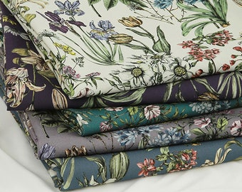 Botanical Garden - Cotton Linen Digital Printed Fabric by the yard 5 colors made in Korea 148cm wide