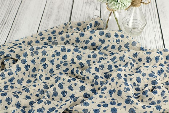 Floral Chiffon Fabric Polyester by the yard 4 colors made in Korea 145cm wide Chao