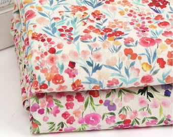 Forget Me Not - Cotton Linen Digital Printed Fabric by the yard 2 colors made in Korea 140cm wide