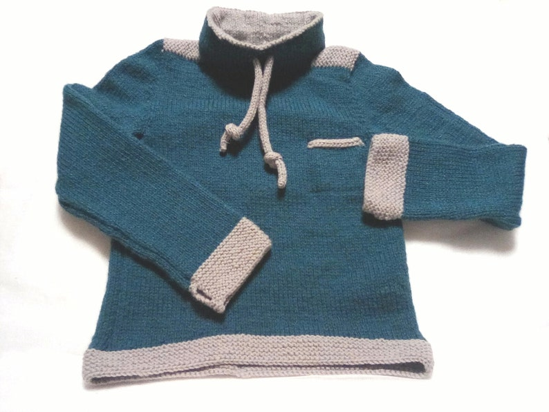 Boys Sweater . High neck Jumper for 4-6 year olds Boys Knitted Pullover Sweatshirt Style in Teal and Grey