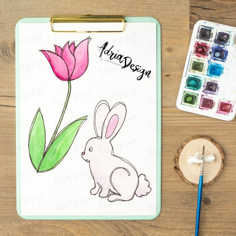 Easter Clipart With Watercolor And Ink Watercolor Easter PNG And JPG Hand Painted Spring Clip Art Spring Garden Easter Eggs
