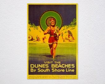 Duneland Beaches vintage South Shore Line poster repro 16x24
