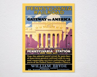Pennsylvania Railroad Station New york City Vacation Travel Tourism Train Vintage Poster Repro FREE Shipping in USA Shipped Rolled-Up