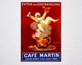 Eviter Les Contrefacons Cafe Coffee Martin Arab Hot Cup French By Cappiello Vintage Retro Poster, Vintage Advertising, Wall Art Poster