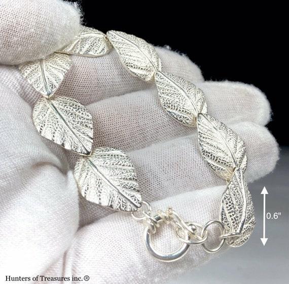 950 Brittania Silver Leaf Chain Bracelet 12.5 Grams 16mm
