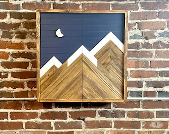 """Rustic Dartboard Cabinet - Rustic Navy Moon Mountain Art  24""""x24"""" - Rustic Cabinet - Game Room / Man Cave Art - Wall Decor - Cabinet"""